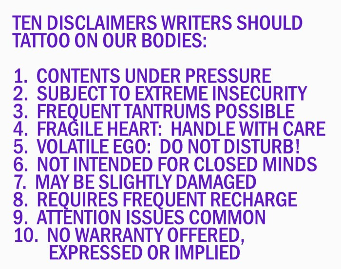Ten Warning Labels for Writers