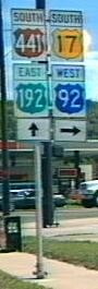 Florida's U.S. highway signs were once made in color, setting the Sunshine State apart in how it signed federal roads.  The signs were eliminated in the mid 1990s under federal instruction.