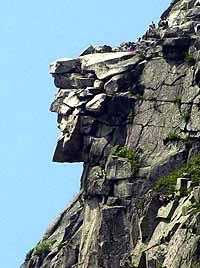 The Old Man on the Mountain,  a tourist attraction and symbol of New Hampshire crumbled off the side of Cannon Mountain. This photo was taken in August, 2001.