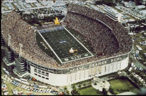A view of the Orange Bowl in Miami Florida, the site of Super Bowl III when the New York Jets defeated the Baltimore Colts 16-7 on 1/12/1969 in front of 75,377 fans in attendance.   Super Bowl III - New York Jets vs Baltimore Colts - January 12, 1969 (AP Photo/NFL Photos)